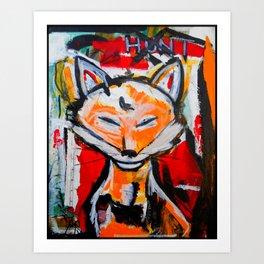 Happy Fox - The Hunt - Original Painting - Marina Taliera Art Print