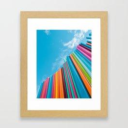 Colorful Rainbow Pipes Against Blue Sky Framed Art Print