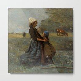"Jean-Baptiste-Camille Corot ""Les deux sœurs dans la prairie (The two sisters in the meadow)"" Metal Print"