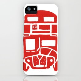 Red bus in London iPhone Case