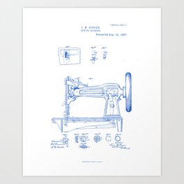 Sewing Machine Vintage Patent Hand Drawing Art Print