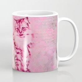 Cute Cat Pink Mixed Media Art Coffee Mug