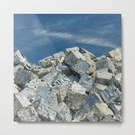 Aluminium Cubes with blue sky Metal Print