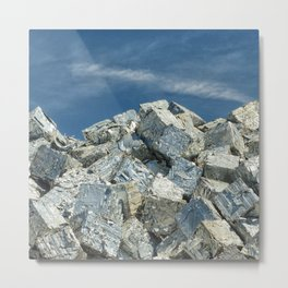 Aluminium Cubes with blue sky Metal Print