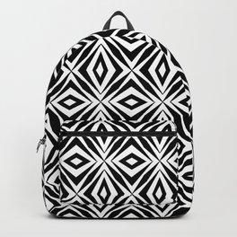 black and white symetric pattern 2- bw, mandala,geometric,rosace,harmony,star,symmetry Backpack
