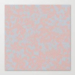 Soft Pink & Gray Floral Silhouette Pattern - Broken but Flourishing Canvas Print
