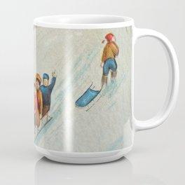Happy vintage winter sledders Coffee Mug