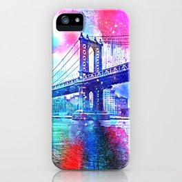 Colorful New York Pink Blue Photograph iPhone Case
