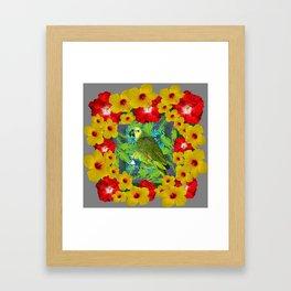 RED-YELLOW HIBISCUS & GREEN PARROT JUNGLE GRAY  ART n Framed Art Print