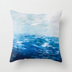 Paint 10 abstract water ocean seascape modern painting dorm room decor affordable stretched canvas Throw Pillow
