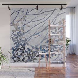 Kimono Inspired leaves and branches print blue toned Wall Mural