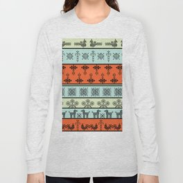folk embroidery, flowers, birds, peacocks, horse, symbols earth, sun fertility, harvesting Long Sleeve T-shirt