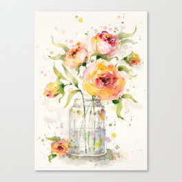 A Jar Of Joy (flowers) Canvas Print