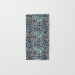 Elephant Ethnic Style Pattern Teal and Copper Hand & Bath Towel
