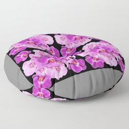 Black-Grey Color Abstracted Modern Purple Moth Orchids Floor Pillow