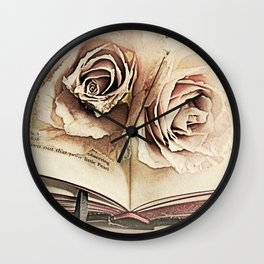 Roses on Book Library Art A113 Wall Clock