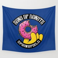 simpsons Wall Tapestries featuring Sons Of Donuts / Simpsons / Donuts by Adrien ADN Noterdaem