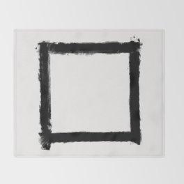 Square Strokes Black on White Throw Blanket