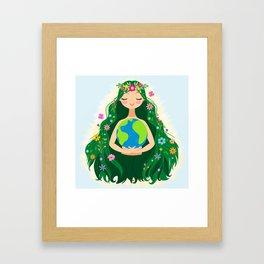 Beautiful Flowing Flower Earth Mother Figure Framed Art Print