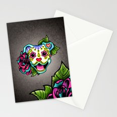 Smiling Pit Bull in White - Day of the Dead Happy Pitbull - Sugar Skull Dog Stationery Cards