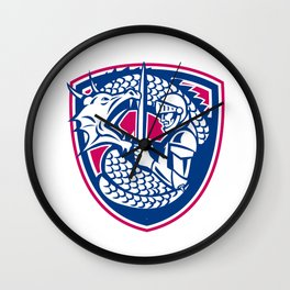 Dragon and Knight Fighting Crest Wall Clock