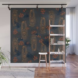 Midnight Leopard - Navy and orange Leopard and Palm pattern Wall Mural