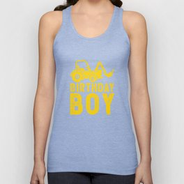 Birthday Boy Yellow Tractor Bulldozer Construction Party Unisex Tank Top