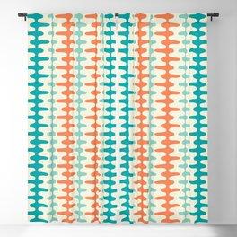 Retro Mid Century Modern Trellis Print Orange and Teal Blackout Curtain
