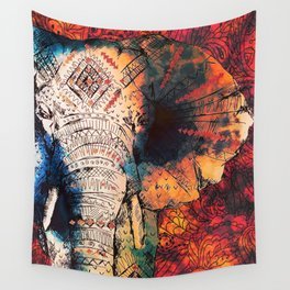 Indian Sketched Elephant Red Orange Wall Tapestry
