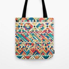 an aztec pattern.  Tote Bag
