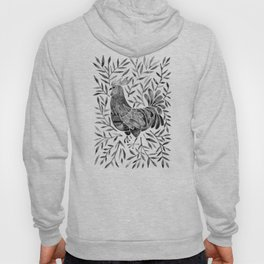 Le Coq – Watercolor Rooster with Black Leaves Hoody