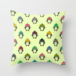 Penguins with colorful beanies Throw Pillow