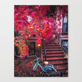New York City Brooklyn Bicycle and Autumn Foliage Canvas Print