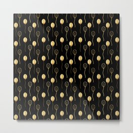 Black faux gold foil modern abstract balloons Metal Print