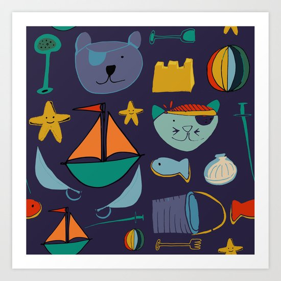 cat and bear pirate purple Art Print