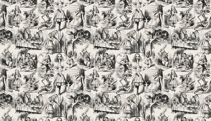 Alice in Wonderland | Toile de Jouy Pattern | Black | Beige | Vintage Pattern | Victorian Gothic | Pillow Sham