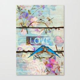 Love Birds on wood Canvas Print