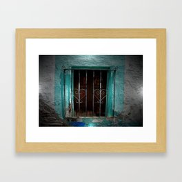 Spain Landscape Photography. Wrought Iron Heart Door Blue Romance Love Picture Framed Art Print