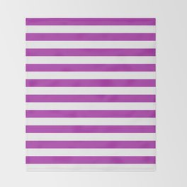 Stripes (Purple & White Pattern) Throw Blanket