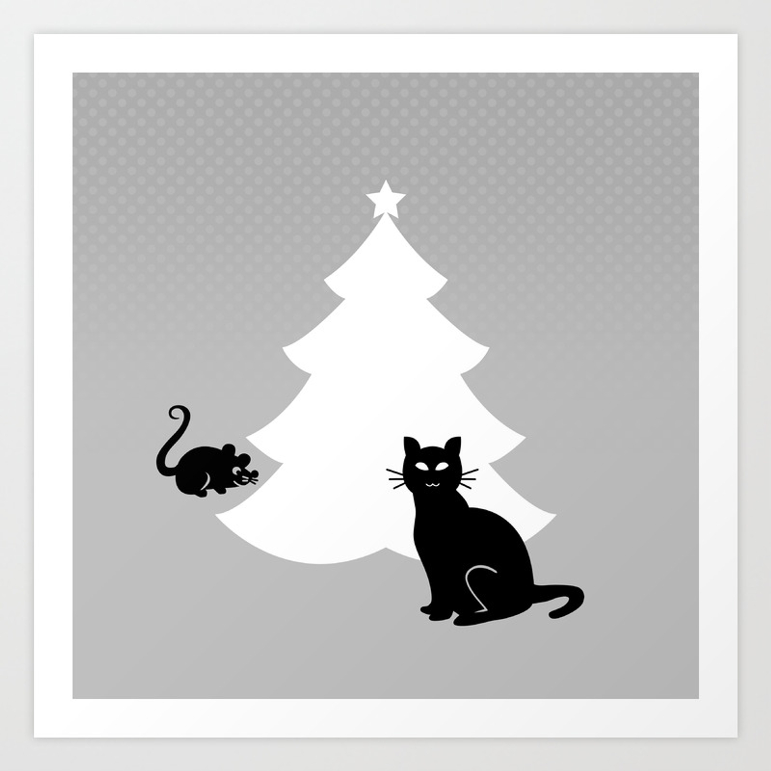 Cat And Mouse Around The Christmas Tree Art Print By Citizenpop Society6