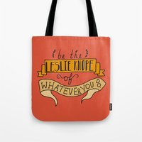 leslie knope Tote Bags featuring Leslie Knope by Illustrated by Jenny