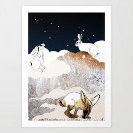 Hares in heaven Art Print