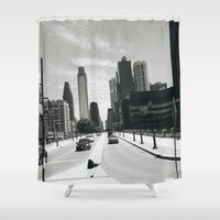 philadelphia Shower Curtains featuring Philadelphia Street by Erica Torres