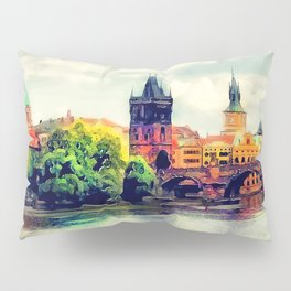Prague panorama watercolor Pillow Sham