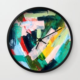 Livin' Easy - a bright abstract piece in blues, greens, yellow and red Wall Clock