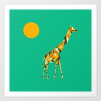 giraffe Art Prints featuring Giraffe  by fly fly away