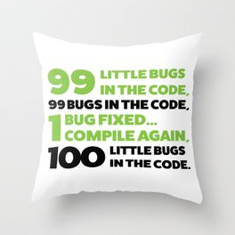 Little bugs in the code Throw Pillow