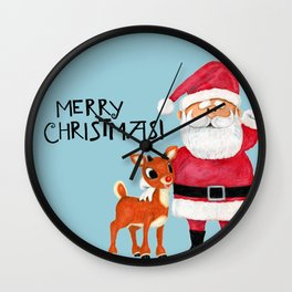 Vintage Blue Santa Claus & Rudolph the Red Nosed Reindeer Wall Clock