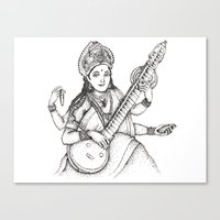 hindu Canvas Prints featuring Hindu Deity_Saraswati  by The Artful Yogini