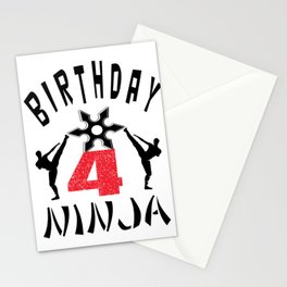 Kids Ninja 4th Birthday Gift for Boys And Girls Stationery Cards